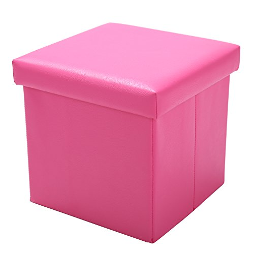 Square Foldable Ottoman Pink Color for Girls Storage,11''x11''x11'',QVB Pink Color…