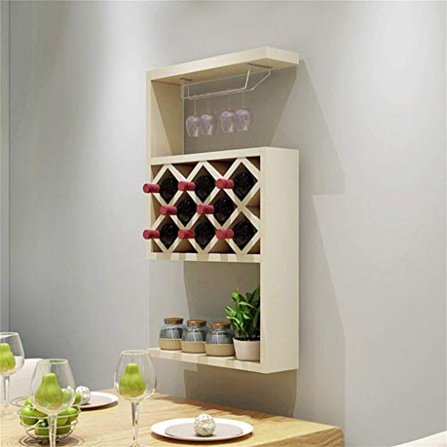 - YISHUAI Wine Cabinet Modern Minimalist Wall Hanging Restaurant Wall Decoration Living Room Wine Rack Wine Rack Lattice Home Wine Rack Hanging Wine Cabinet, White Maple, 50.7 23 107.7cm