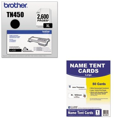 KITBRTTN450CLI87517 - Value Kit - C-line Printer-Ready Name Tent Cards (CLI87517) and Brother TN450 TN-450 High-Yield Toner (BRTTN450)