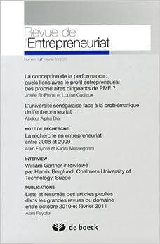 Revue de l'entrepreneuriat - 2011/1 - volume 10