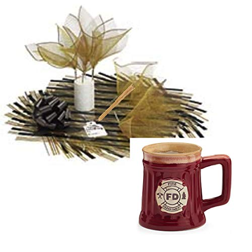 Gifts For Firefighter Candy Bouquet Coffee Novelty Mug Bundle - 1 Fire Department Crest 18 Ounce Porcelain Mug 1 Candy Bouquet DIY Kit Tissue Paper Mesh Picked Sheets