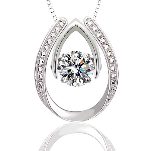 """ARINZA 925 Sterling Silver Love Dual Usage Dancing Stone Pendant Necklace with Swarovski Cubic Zirconia 18"""" for Women Girl Twinkling-Collection"""