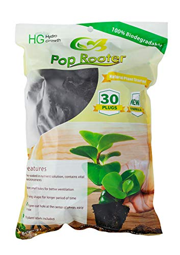 Pop Rooter Organic Plant Starter Replacement for Hydroponics Seed Growing, 30 Cubes&12 Labels