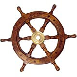 """Hampton Nautical  Deluxe Class Wood and Brass Decorative Ship Wheel 12"""" - Nautical Home Decoration Gifts"""
