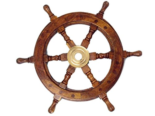 Hampton Nautical Deluxe Class Wood and Brass Decorative Ship Wheel 12'' - Nautical Home Decoration Gifts by Hampton Nautical