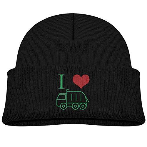 Kids Knitted Beanies Hat I Heart Love Trash Garbage Trucks Winter Hat Knitted Skull Cap for Boys Girls Black ()