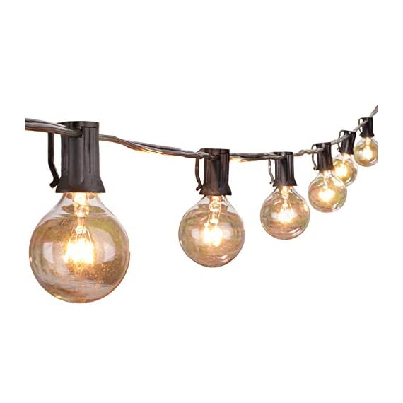 """Brightown Outdoor Patio String Lights-100Ft G40 Backyard Lights with 104 5W Edison Clear Bulbs(4 Spare), UL listed… - 100 feet long string with 100 clear G40 Bulbs, NOT connectable Light bulbs have candelabra (E12) socket base. 6"""" lead with male plug, 12"""" spacing between bulbs. Total Length 100 Feet. - patio, outdoor-lights, outdoor-decor - 41Yp45LpeaL. SS570  -"""