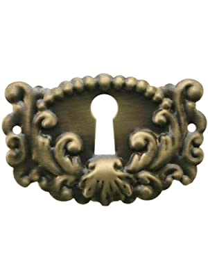 Decorative Stamped Brass Keyhole Cover With Antique-By-Hand Finish. Keyhole Escutcheons.
