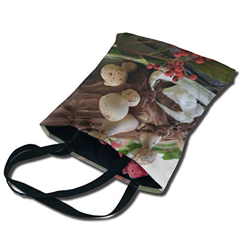 - Christmas Yule Log Cake Printing Canvas Bag Unique Reusable Fancy Durable Canvas Plain Tote Bags In Bulk Tote Carrying Travel Bag, Shopping Bag Foldaway
