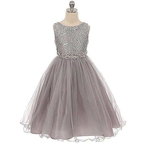 Kids Showtime Sleeveless Sequins Rhinestones Tulle Pageant Flower Girl Dress(Silver Gray,6-7Y)
