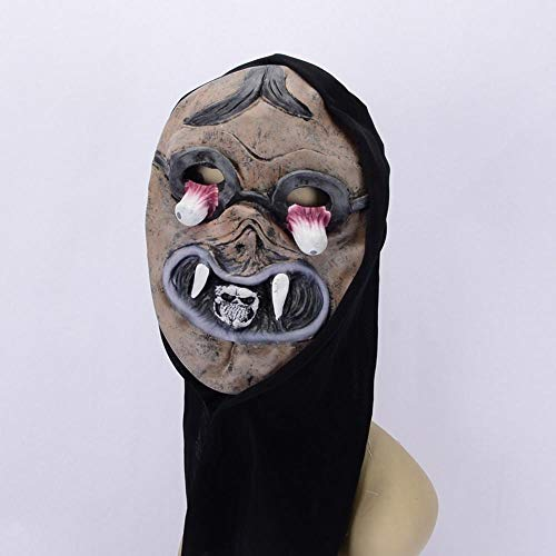 (Rwdacfs Halloween mask,Halloween Club Carnival Party Pointy Teeth Mob Black Cloth Set Latex)