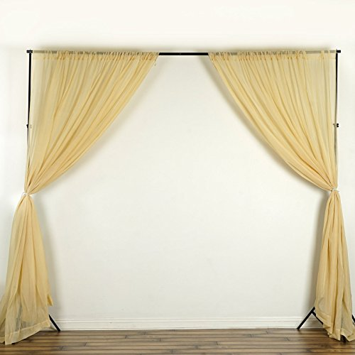 (BalsaCircle 10 feet x 10 feet Champagne Sheer Voile Backdrop Drapes Curtains - Wedding Ceremony Party Home Decorations)