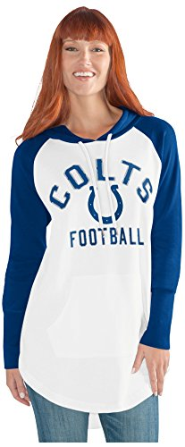 GIII For Her NFL Indianapolis Colts Adult Women All Division Tunic Hoodie, Medium, White/Blue