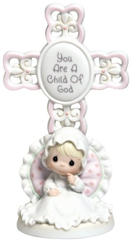 Precious Moments You Are A Child Of God, Bisque Porcelain Cross, Girl, 4004681 - Porcelain Girl