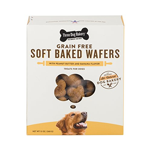 Three Dog Bakery Grain Free Wafers Baked Dog Treats, Peanut And Banana, 13 Oz