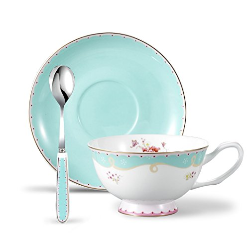 Panbado 3 Piece Bone China Porcelain Gold Rimmed Tea Cup Saucer Set with Spoon Teacup Coffee, Flower, 200ml, 6.8 ()