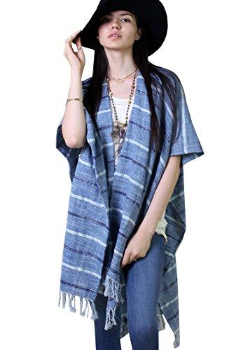Women's Bohemian Stripe Ocean Blue Kimono, Handloom Natural Cotton Linen Blend, Boho Chic Kaftan, Fringes (Best Homeopathic Brands In India)