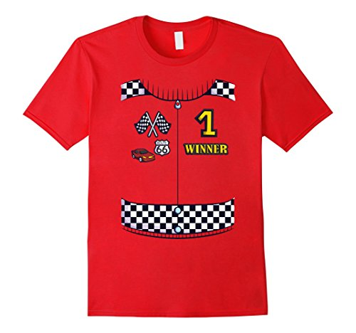 [Mens Race Car Driver Costume T-Shirt for Halloween Cosplay Tee XL Red] (Male Race Car Driver Costume)