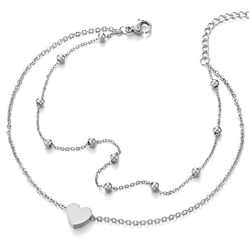 COOLSTEELANDBEYOND Stylish Two-Row Stainless Steel Anklet Bracelet with Heart and Beads Charms by COOLSTEELANDBEYOND