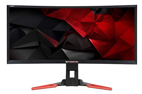 Predator Z35P Monitor Gaming Curvo G-Sync da 35″, Display UltraWide QHD (3440×1440), 100 Hz, 300 cd/m2, 4ms, HDMI, DP, USB 3.0, Audio Out, Speaker Integrati, Regolazione in Altezza, ULMB, Nero