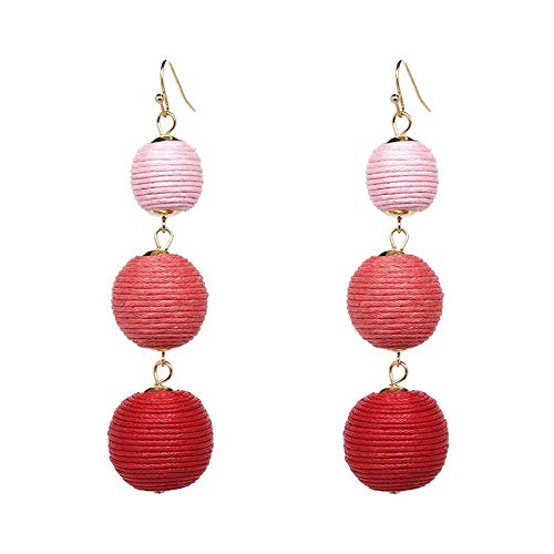 Thread Ball Dangle Earrings Tassel Drop Earring Beaded Lantern Ear Studs Women Linear Tribal Charms Jewelry Pink Rose Red Mixed ()