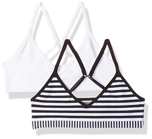 2d4ae0aa749fe Galleon - Hanes Big Girls  ComfortFlex Seamless Bralette 2-Pack White Black  Stripe Combo Small