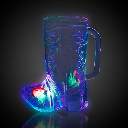 LED Light Up 16 oz Plastic Cowboy Boot Drinking Glass Cup Drinkware ()