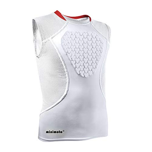 Minimoto Chest Protector, Heart-Guard/Sternum Protection Shirt for Baseball, Football, T Ball, Lacrosse & Goalies, Youth Sizes (White, Youth Medium) ()