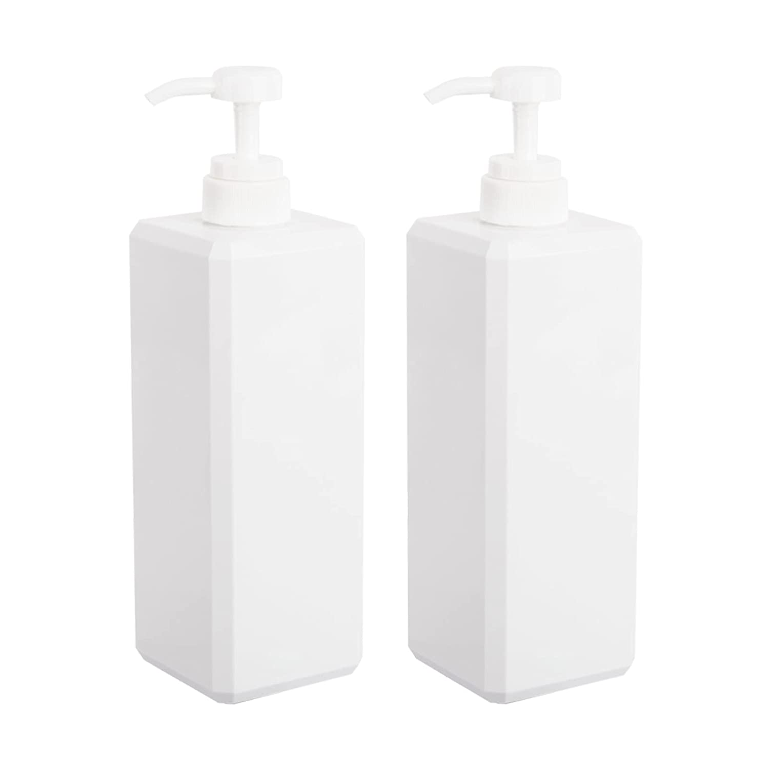 Empty Plastic Pump Bottles, Refillable Lotion Soap Dispenser Liquid Container for Kitchen or Bathroom Soaps Shampoo and Body Wash, 2 Pack (32oz/1L, white)
