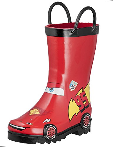 [Disney Cars Kid's Lightening Mcqueen Boy's Red Rain Boots (Toddler/Little Kid) (12 M US Little Kid)] (Next Kids Boots)
