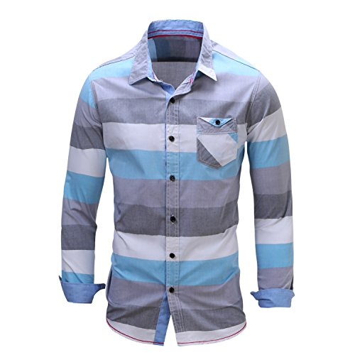 Hochock Men Lapel Long Sleeve Solid Cotton Button Down Shirt Lake Blue 2XL