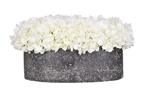 House-of-Silk-Flowers-Artificial-Fresh-White-Hydrangea-in-Stone-Oval
