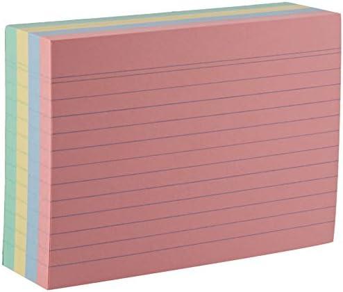 Herlitz 10836211 Karteikarte (A6, liniert) 200 Stück grün/gelb/rot/blau