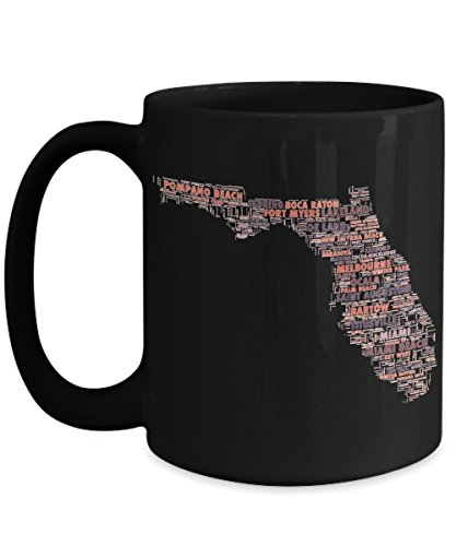 Florida Cities In The Shape Of The State Black 15 oz Coffee - The Melbourne West Haven