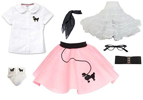 Hip Hop 50s Shop Toddler 7 Piece Poodle Skirt Costume Set Light Pink 3T by Hip Hop 50s Shop
