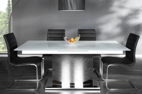 Extendable Dining Table White Chrome Eclipse Glass Table 180 220 Cm Table Amazon De Kuche Haushalt