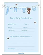 30 Baby Shower Prediction and Advice Cards for The Baby Boy - Baby Shower Games Decorations Activities Supplies Invitations