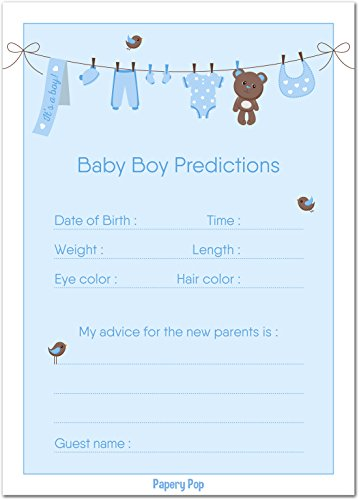 30 Baby Shower Prediction and Advice Cards for the Baby Boy - Baby Shower Games Decorations Activities Supplies Invitations (Decoration Baby Shower Boy)