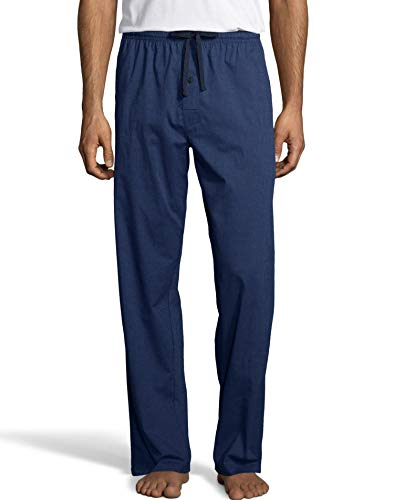 Hanes Mens Woven Stretch Plaid Pant (02000S) -Medium BLU ()