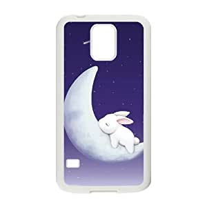 Custom Colorful Case for SamSung Galaxy S5 I9600, Moon Bunny Cover Case - HL-R687212