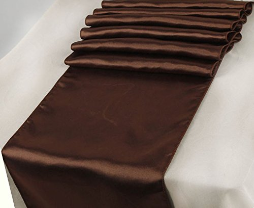 (RDS 10 Satin Table Runner 12 X 108 Inch For Wedding & Venue Decoration - Coffee)