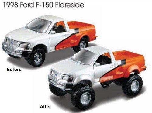 Assembly Line Lifters White & Orange 1998 Ford F-150 Flareside Metal Kit Model
