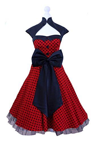 Vintage Années 5060's Swing Noir Blanc Rouge Polka Dot Robe Soirée Rétro Rockabilly Taille UK 8–24 -  noir - 36