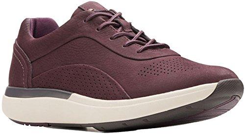 CLARKS Womens Un Cruise Lace Sneaker, Aubergine, Size 6
