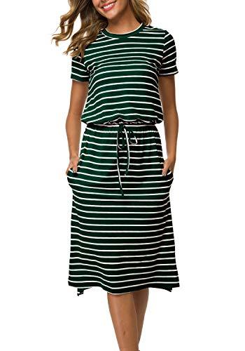 Women's Striped Short Sleeve Side Split Casual Midi Dress with Pockets Green -