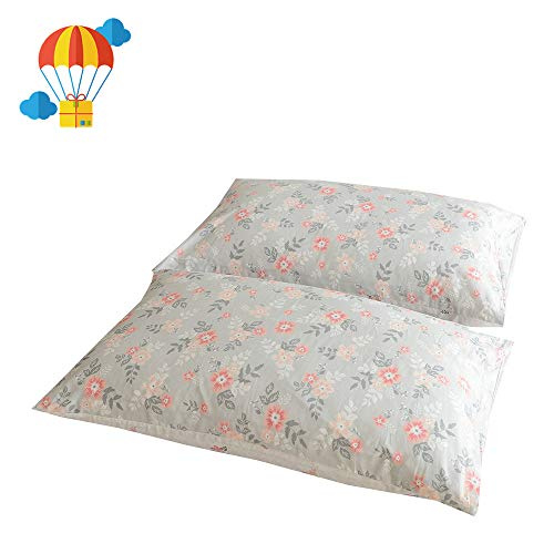 "BuLuTu Cotton Vintage Floral Print Bed Pillowcases Set of 2 Queen Grey Garden Blossom Flowers Kids Pillow Covers Decorative Standard for Girls Envelope Closure-Premium,Ultra Soft (2 Pieces,20""×26"") from BuLuTu"