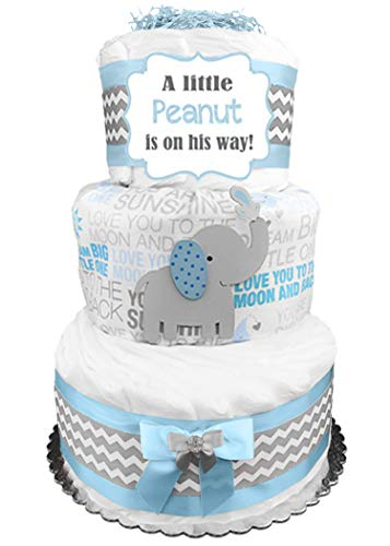 Elephant Diaper Cake - Little Peanut - Boy Baby Shower Gift - Blue and Gray