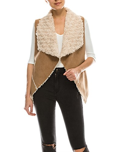 - BOHENY Womens Classic Faux Fur Shearing Fully Lined Suede Vest Coat-M-Camel
