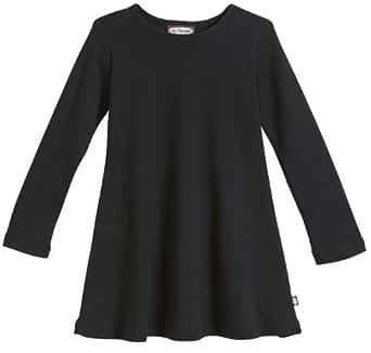 City Threads Little Girls' Cotton Long Sleeve Dress for School or Play for Sensitive Skin SPD Sensory Friendly, Black, 2T