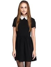 Women's Short Sleeve Black Peter Pan Collar Doll Dress